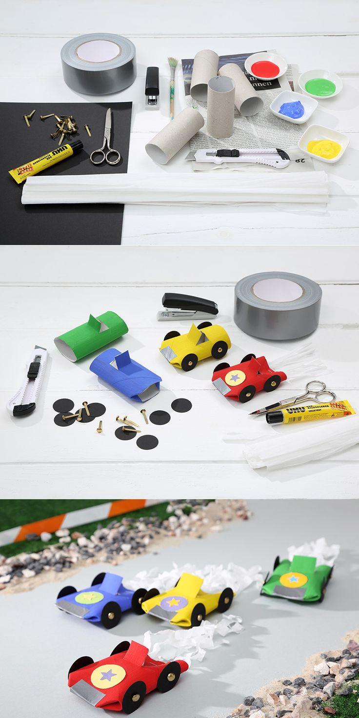 Aus Papierrollen lassen sich coole Flitzer basteln, die sogar eine Staubwolke hinter sich herziehen. • Umsetzung & Fotos: Thordis Rüggeberg