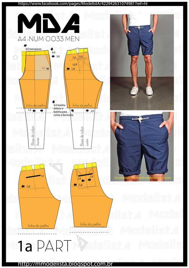 Men's shorts , pattern instructions
