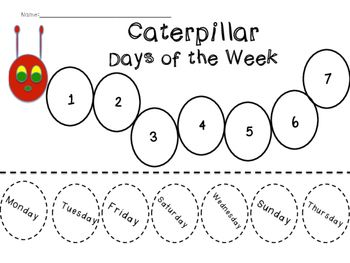 Caterpillar Days of the Week Sequence | Dias de la semana ...