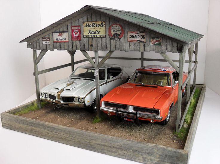 1 18 gmp acme autoart ertl garage carport diorama display w lights. Black Bedroom Furniture Sets. Home Design Ideas