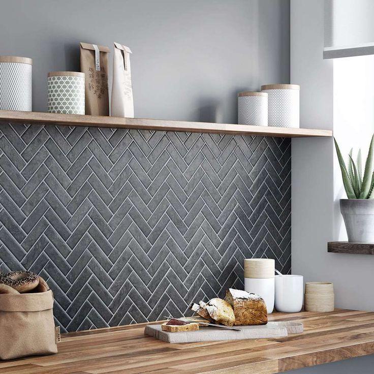 Credence En Chevron S Leroy Merlin Kitchen Tiles Backsplash Kitchen Interior Kitchen Splashback