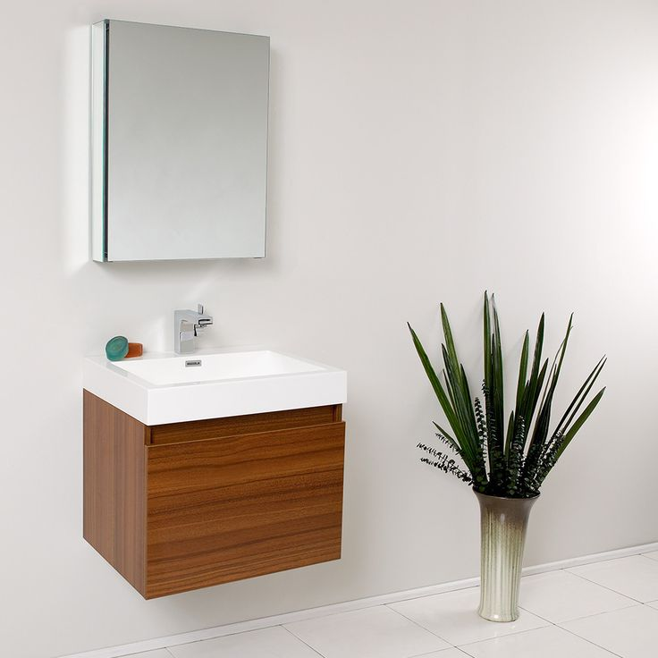 This vanity is striking in its simplicity. Don't forget to check under the hood with the innovative storage system from Blum that includes a nested drawer. Perfect for smaller bathrooms. Many faucet s