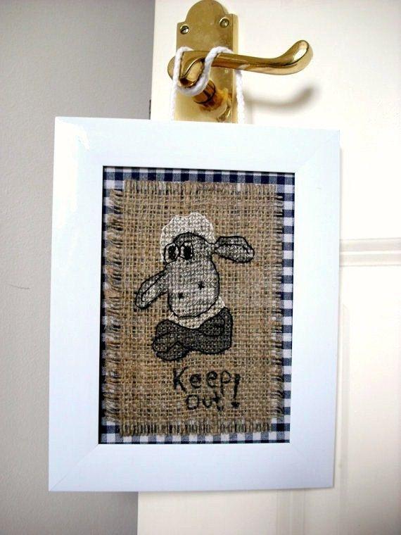 Framed cross stitch Shaun the sheep handmade room by marchewcia2, €10.00