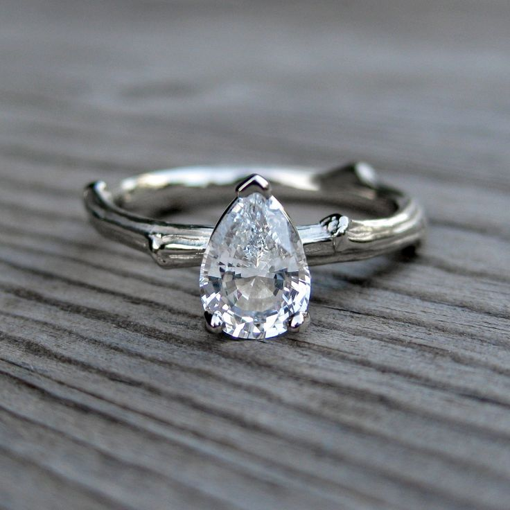 Pear White Sapphire Twig Ring by kristincoffin...I love all of her pieces! So pretty