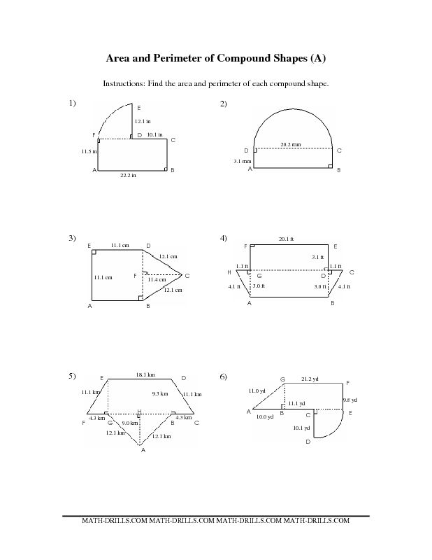 Worksheets Composite Shapes Worksheet 1000 images about area on pinterest and perimeter 4th measurement worksheet of compound shapes