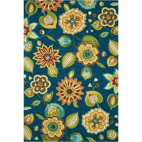 Loloi Sonata Blue Floral 5ft X 7ft Outdoor Washable Rug