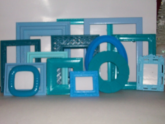 14 Shades of Blue Picture Frames by DirtRoadDecor on Etsy, $60.00