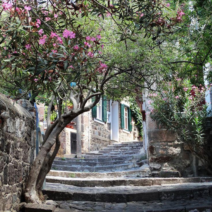 De mooie straatjes van Molyvos, Lesbos.
