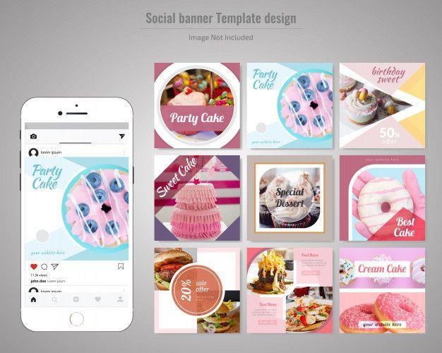 Cake Social Media Post Template Banner Template Design Banner Template Post Templates