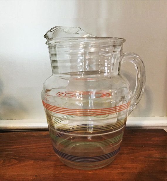 Vintage Glass Pitcher With Stripes Anchor Hocking Mid Century Vintage Glass Pitchers Glass Pitchers Glass