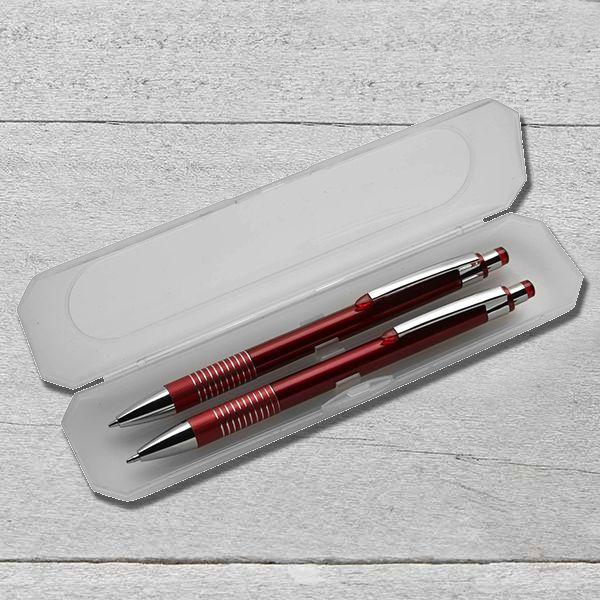 Gravírozott tollkészlet műanyag dobozban - piros