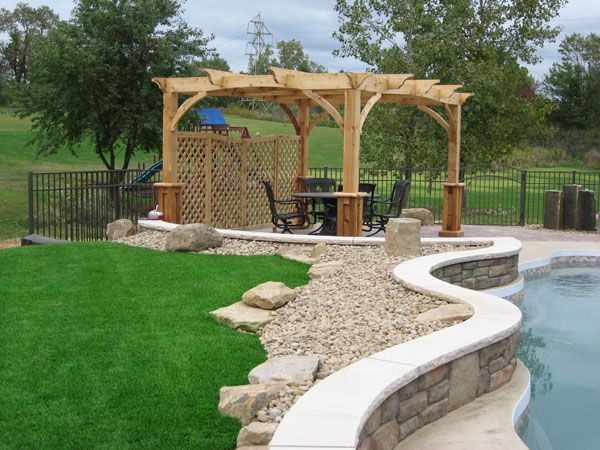 Pergola around pool ideas for meditation garden for Pool landscaping pictures