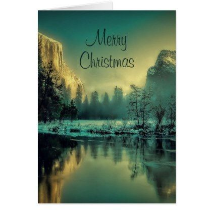 Beautiful Scenic Yosemite Merry Christmas | Custom Card - Xmas ChristmasEve Christmas Eve Christmas merry xmas family kids gifts holidays Santa