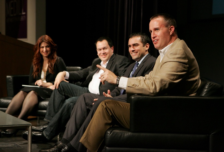 """""""Beyond the Box Score: Covering College Sports in 2012 and Beyond"""" featured, from left: ESPN's Rachel Nichols, Sports Illustrated's Stewart Mandel, Sports Illustrated's Pete Thamel (formerly of The New York Times) and Northwestern football coach Pat Fitzgerald."""