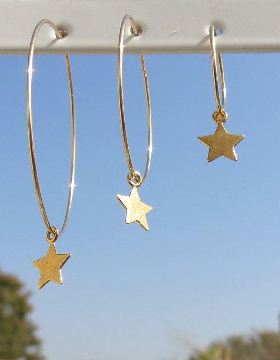 Star Earrings Star Hoop Earrings Hoop Star Earrings by ZmirArts