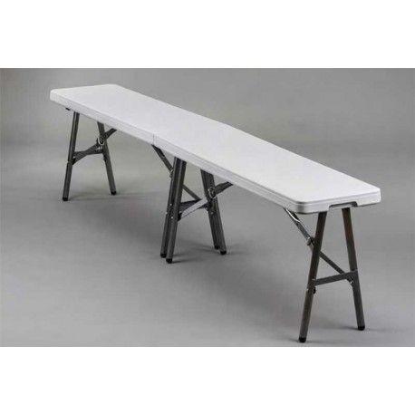 Práctico Banco Plegable fabricado en resina y acero en color blanco que es perfecto para ir de camping o para tu jardín. De alta calidad y no ocupa mucho espacio por lo que lo podrás guardar en cualquier lugar.
