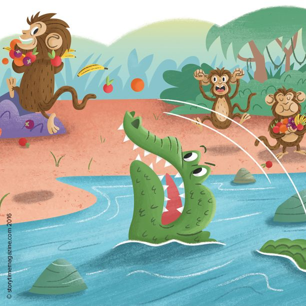 Storytime Issue 21's funny Buddhist fable, The Monkey and the Crocodile. Poor old croc! Art by James Loram (http://www.jamesloram.com) ~ STORYTIMEMAGAZINE.COM