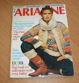 ARIADNE Maandblad voor handwerken, tijdschrift nr. 1 van januari 1977 met werkblad
