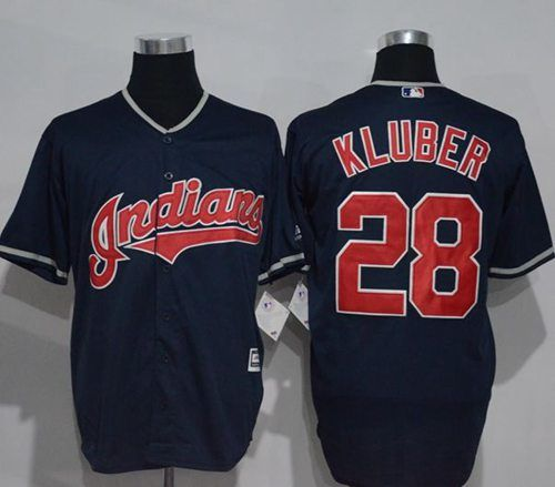 indians 28 corey kluber navy blue new cool base stitched mlb jersey