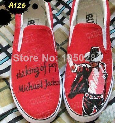 бесплатная доставка 2014 майкл джексон обувь ручной росписью мода холст муёской обуви ёенщин красный цвет 1455,13