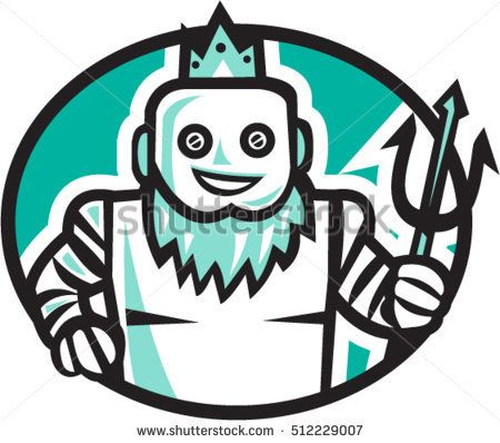 Illustration of a robotic poseidon holding trident facing front set inside oval shape on isolated background done in retro style.  #poseidon #retro #illustration