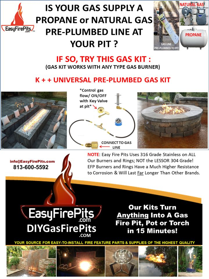 Do it yourself gas fire pits from easyfirepits connect to