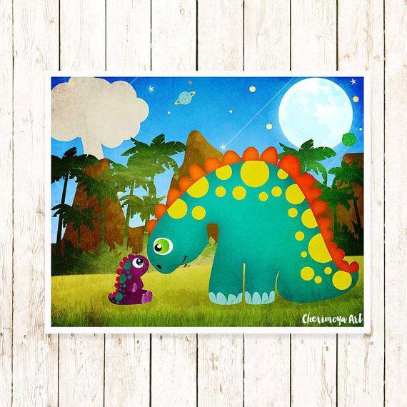Dinosaur Wall Art Children Print Kids Dinosaur Art by CherimoyaArt