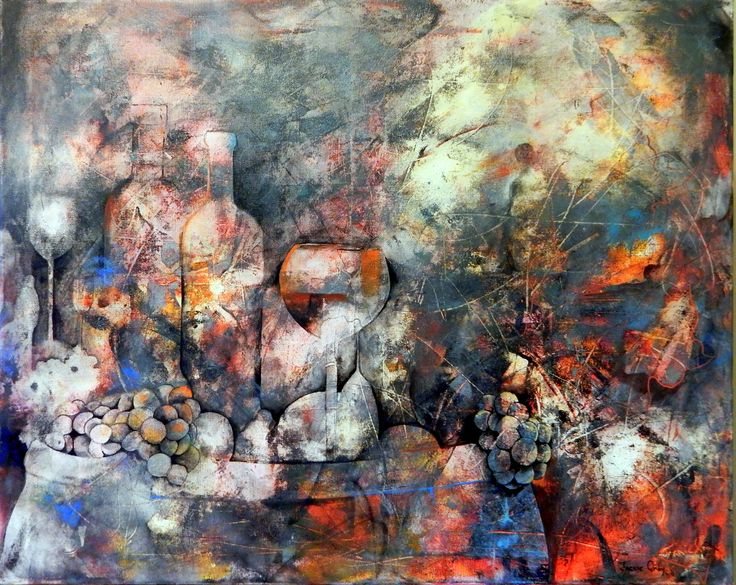 Mixed Media abstract painting - Wine Barrel I by Jackie Gray