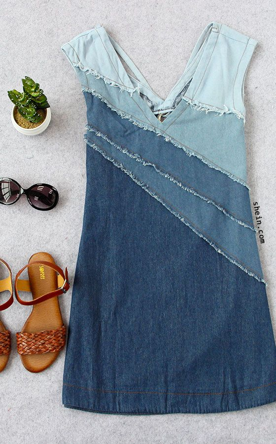 Blue V-neck Patchwork Locking Ring Hole Casual Dress