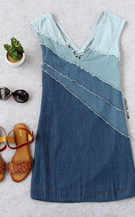 Blue V-neck Patchwork Locking Ring Hole Casual Dress -SheIn(Sheinside)