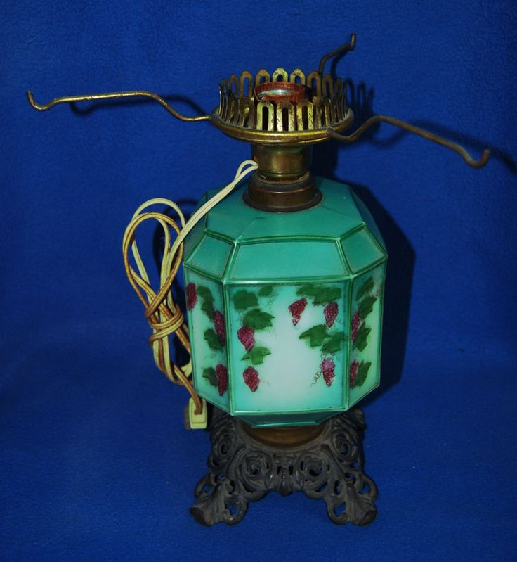 Antique Oil Lamp to Electric Handpainted Glass Grapes Leaves Unusual 8 Sides #AntiqueOilLamp #AntiqueLamp #VintageLamp #Handpainted #VintageGlass