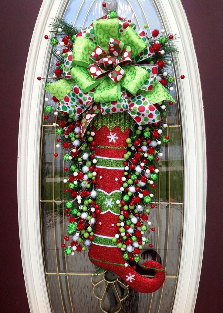 Christmas Wreath Door Wreath Teardrop by AnExtraordinaryGift, $105.00