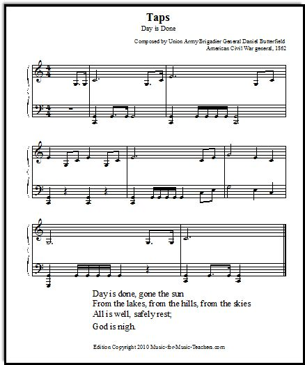 Taps Trumpet Music Arranged for Piano, Free Sheet Music