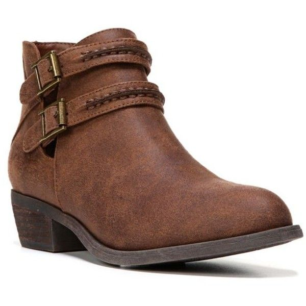 Carlos By Carlos Santana Cognac Laney Ankle Bootie - Women's (£53) ❤ liked on Polyvore featuring shoes, boots, ankle booties, cognac, strappy booties, vegan booties, ankle strap booties, cognac ankle boots and faux leather booties