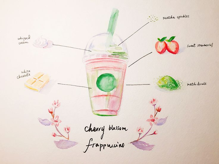 Watercolor Sweets - Cherry Blossom Frappuccino
