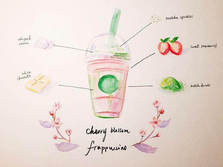 Watercolor Sweets - Cherry Blossom Frappuccino