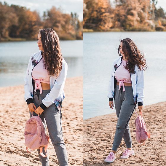 Get this look: http://lb.nu/look/8878095  More looks by Gabriela Grębska: http://lb.nu/mowmigaba  Items in this look:  Reebok Sneakers, Nike Sweatpants, Answear Backpack, Zaful Crop Top, Cacofonia Milano Bomber Jacket   #casual #sporty #street #ootd #outfit #autumn #sweatpants #bomber #croptop