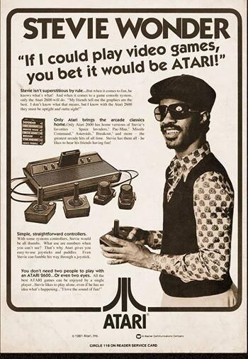 Vintage Ad: Stevie Wonder in an Atari video game ad from the early 80s via @MLDuchess