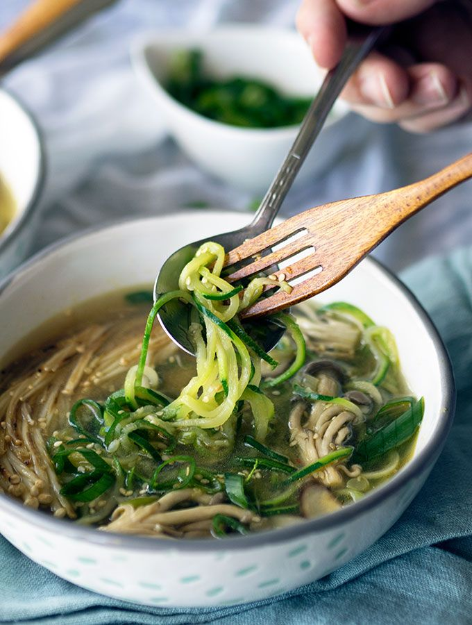 Mushroom Zoodle Soup ~ Gluten free, packed with flavour and nutritious.