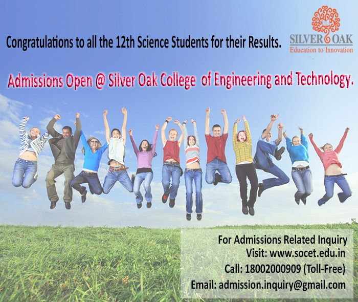 Congratulation to all the 12th Science Students ... Admissions open @ Silver Oak College Of Engineering & Technology.. #admissions #gseb #ghseb #engineering #science #technology #education #ahmedabad #gujarat #boardexams #results #congratulations #celebrations Follow us on : Twitter :-http://goo.gl/R02bPj Pinterest :-http://goo.gl/TF7Vs6 Google+ :-http://goo.gl/KQafQ4 YouTube :-http://goo.gl/pMZT7g Instagram :-https://goo.gl/sRDWX4
