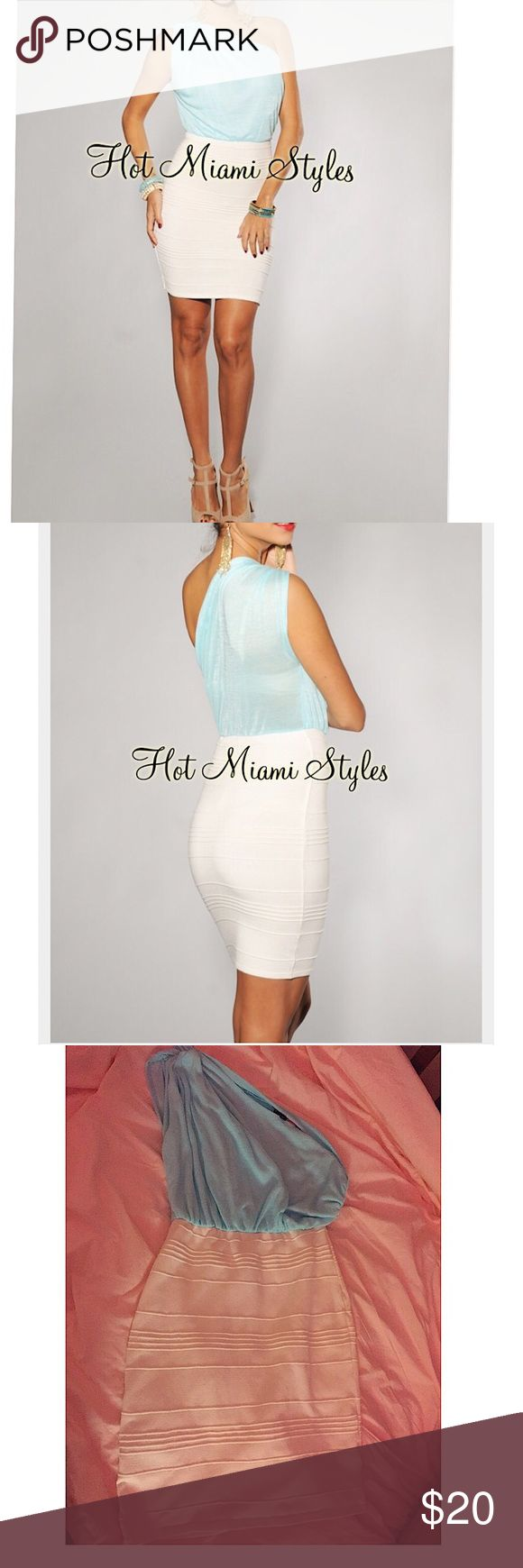 Hot Miami Style size L blue/ivory bandage dress Hot Miami Style size L blue/ivory single shoulder bandage dress. Worn 2x and hand washed. Beautiful colors. Great vacation wear or brunch. Petfree/ smoke free home. Hot Miami Styles Dresses Mini