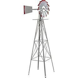 8ft. Ornamental Garden Windmill – Galvanized with Red Tips