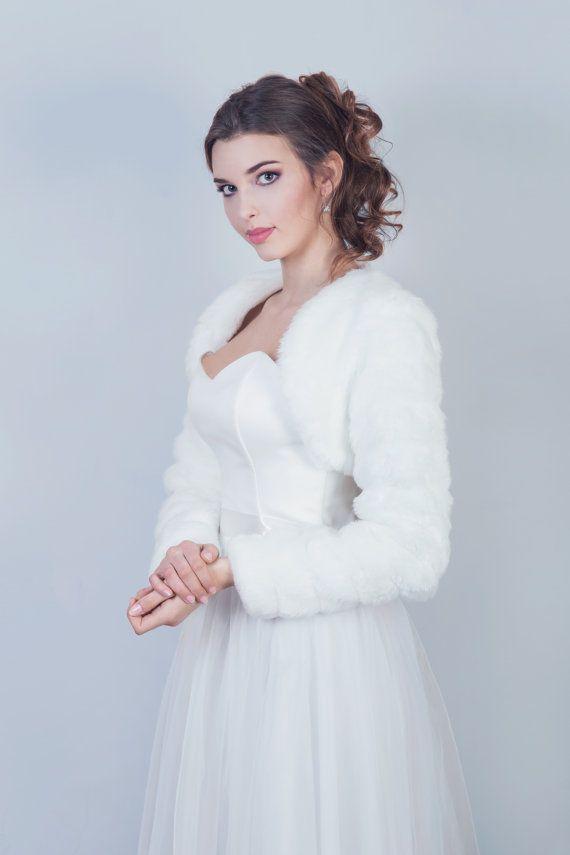 Winter bridal jacket Bridal faux fur bolero Winter by MokkaBridal