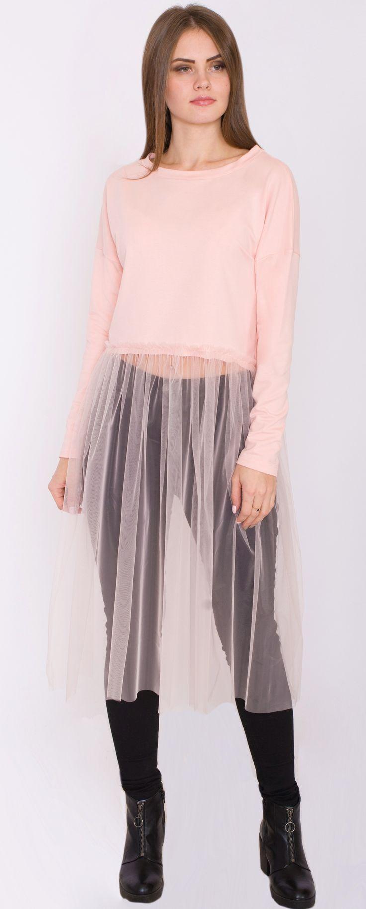 Платье сетка/ туника/ фатин/ платье из фатина/ стильное платье из хлопка / стильная одежда / молодежная одежда/ тренд