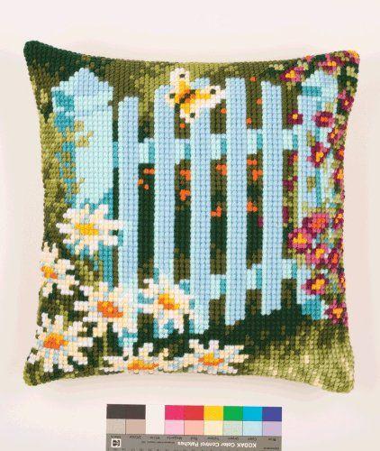 Vervaco Garden Gate Cross Stitch Cushion, Multi-Colour