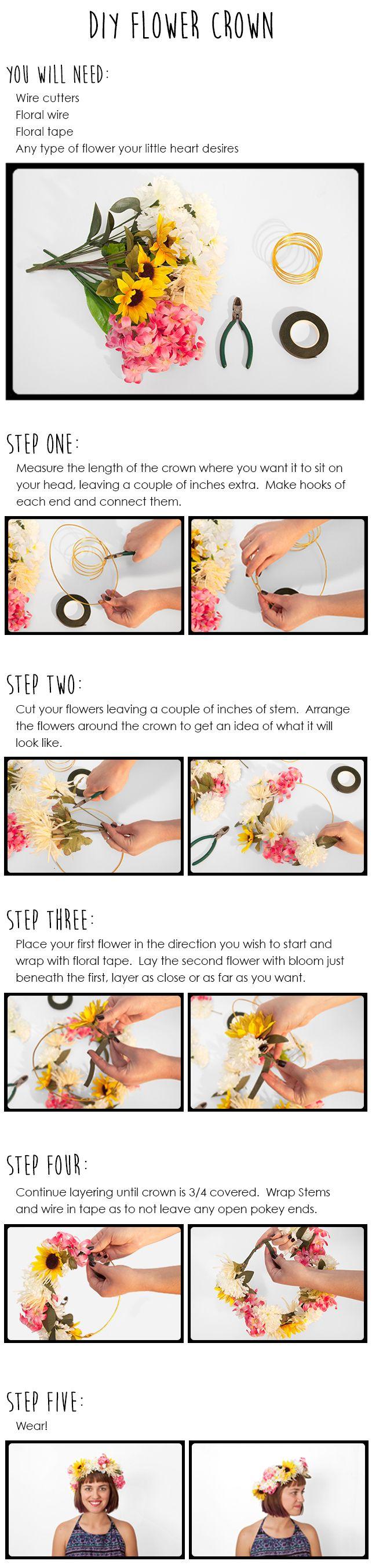 DIY Festival Flower Crown Tutorial