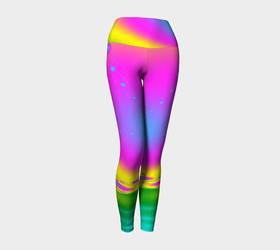 Yoga leggings activewear rainbow workout by Traceyleeartdesigns