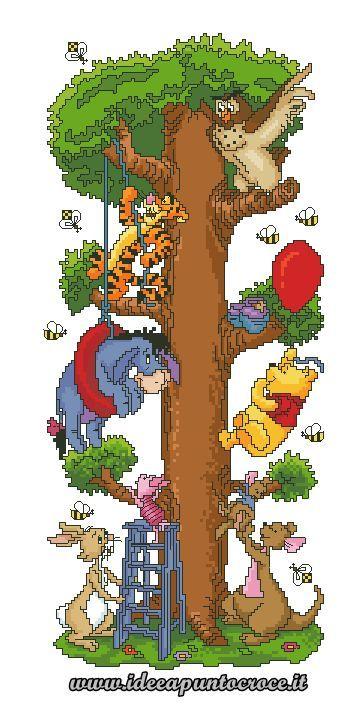 Borduurpatroon Winnie the Pooh kruissteek *Cross Stitch Pattern ~Vrienden in Boom *In Tree 1/8~