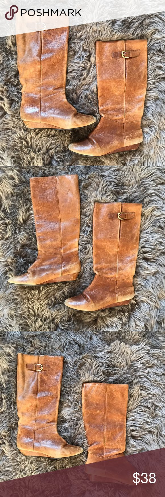 Steve Madden Intyce Leather Boots Steve Madden Intyce Leather Boots are Cognac Brown in color. Leather is very worn, but some like that rustic look. Have slight wedge to heal. Perfect for Fall. Heal is very worn as shown. Size: 7 1/2 Steve Madden Shoes Heeled Boots