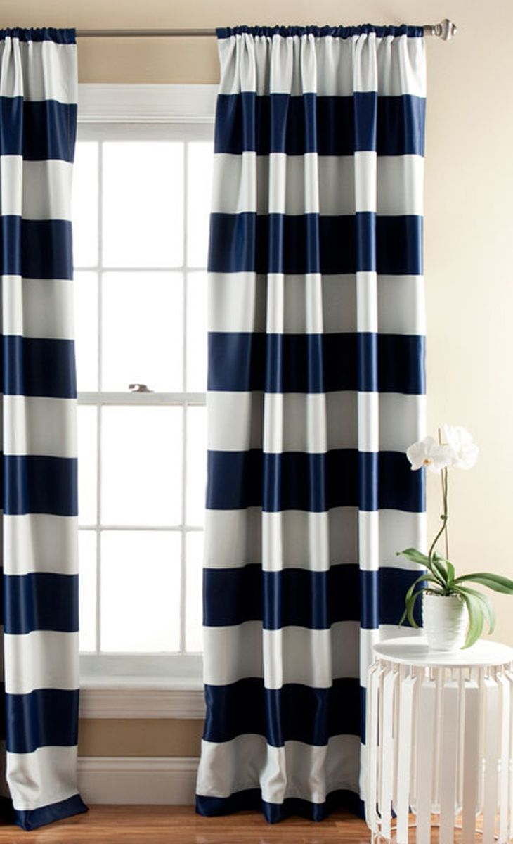 Navy + white panel curtains
